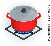 isometric a pot on a gas cooker ... | Shutterstock .eps vector #618935843