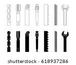 drill bit screw cutter milling... | Shutterstock .eps vector #618937286