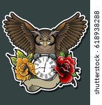 vector owl  flowers  clock ... | Shutterstock .eps vector #618938288