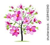 Blossoming Magnolia Tree On...