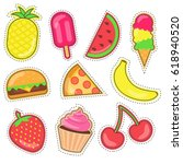 colorful funny summer food... | Shutterstock .eps vector #618940520