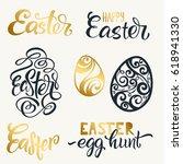 set of hand written happy... | Shutterstock .eps vector #618941330