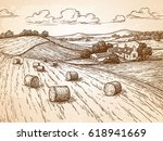 field with haystacks.... | Shutterstock .eps vector #618941669