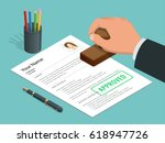 approved stamp in hand... | Shutterstock .eps vector #618947726
