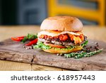 burger with beef  egg  tomato ... | Shutterstock . vector #618957443