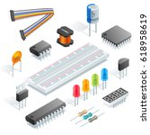 isometric electronic components ...   Shutterstock .eps vector #618958619