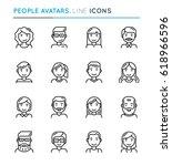 people avatars thin line icon... | Shutterstock .eps vector #618966596