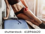 girl working out at gym | Shutterstock . vector #618966620