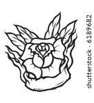 vintage tattoo rose banner | Shutterstock .eps vector #6189682