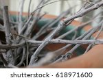Clay Potted Planter With Twigs...