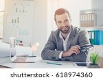 confident smiling architect in... | Shutterstock . vector #618974360