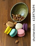 tasty macaroons and cup of milk ... | Shutterstock . vector #618976694