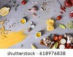 italian pasta with cooking...   Shutterstock . vector #618976838