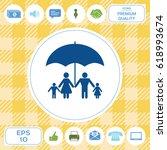 family under umbrella   family... | Shutterstock .eps vector #618993674