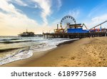 Small photo of early morning winter Santa Monica pier beach sunny day