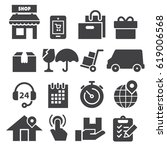 delivery icons  black edition  | Shutterstock .eps vector #619006568