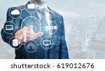 double exposure of professional ... | Shutterstock . vector #619012676