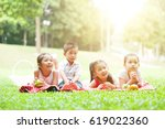 portrait of asian children... | Shutterstock . vector #619022360
