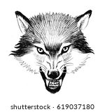 angry wolf | Shutterstock . vector #619037180