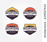 mountains expedition logo design | Shutterstock .eps vector #619037414