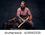bearded lumberjack male with...   Shutterstock . vector #619042520