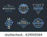 auto mechanic logo set   Shutterstock .eps vector #619045064