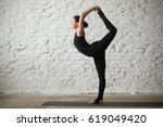 young yogi attractive woman... | Shutterstock . vector #619049420