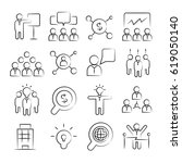 hand drawn business management... | Shutterstock .eps vector #619050140