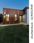 vertical contemporary new home... | Shutterstock . vector #619051949