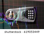 financial data on a monitor as... | Shutterstock . vector #619053449