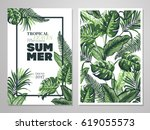 tropical palm leaves background.... | Shutterstock .eps vector #619055573