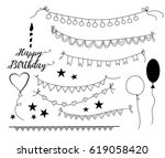 set of hand drawn party... | Shutterstock .eps vector #619058420