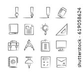 hand drawn office supply icon... | Shutterstock .eps vector #619058624