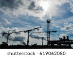 silhouette of construction... | Shutterstock . vector #619062080