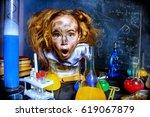 funny little girl doing... | Shutterstock . vector #619067879