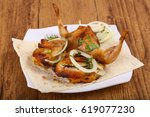 grilled quail with onion and... | Shutterstock . vector #619077230