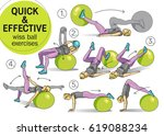 wiss ball exercises  fitness ... | Shutterstock .eps vector #619088234
