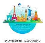 around the world   modern... | Shutterstock .eps vector #619090040