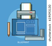 blueprint conceptual design | Shutterstock .eps vector #619093130