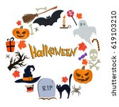 round frame with halloween... | Shutterstock . vector #619103210