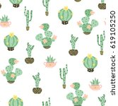 succulent and cactus in pots... | Shutterstock .eps vector #619105250