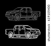 pickup truck car outline on... | Shutterstock .eps vector #619105400