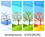 four seasons. illustration of... | Shutterstock .eps vector #619108190