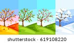 four seasons. illustration of... | Shutterstock .eps vector #619108220