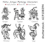 tattoo set with hand drawn...   Shutterstock .eps vector #619108394