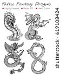 tattoo set with hand drawn... | Shutterstock .eps vector #619108424