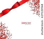 shiny red ribbon. vector... | Shutterstock .eps vector #619120568