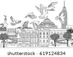 birds over mexico   hand drawn... | Shutterstock .eps vector #619124834