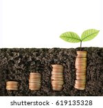 investment concept  coins graph ... | Shutterstock . vector #619135328