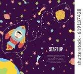 start up space cartoon template.... | Shutterstock .eps vector #619137428